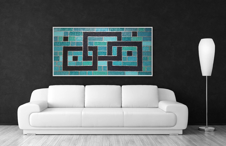 Large struktural painting -Blue nights - Image 0