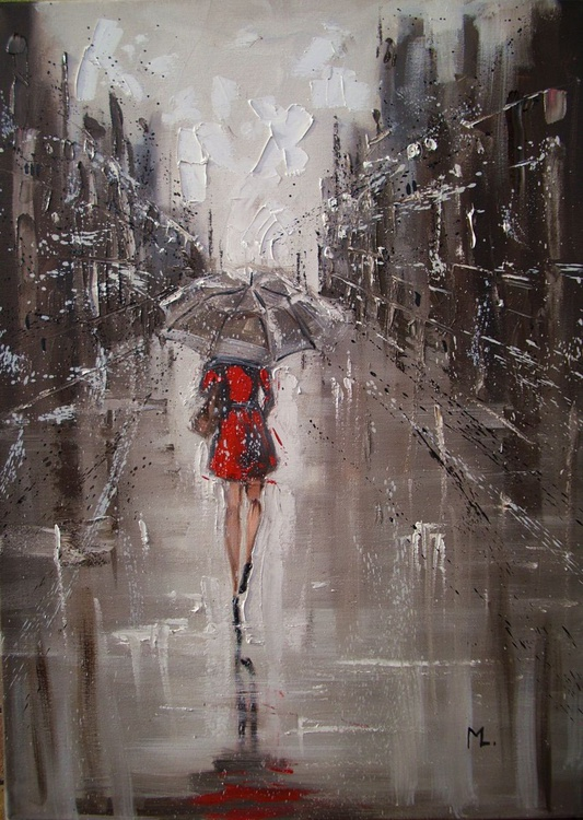 """ RAINY STREET  "" original painting CITY palette knife - Image 0"