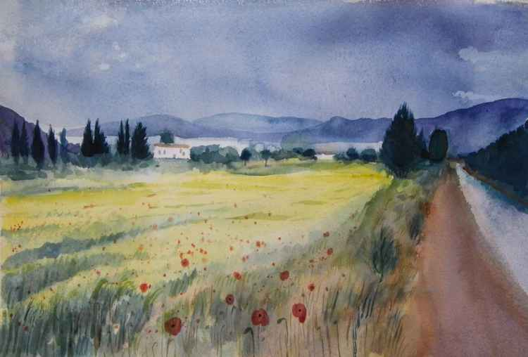 Mediterranean Landscape with poppies -