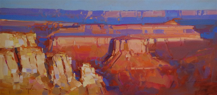 Grand Canyon - Sunset, Landscape oil painting, Large Size, Ready to hang, One of a kind, Signed, Hand Painted - Image 0