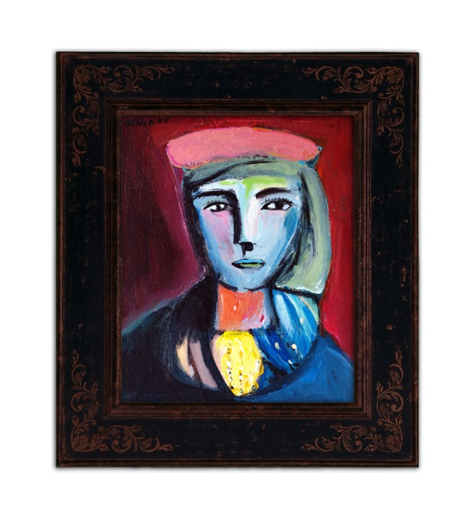 woman with pink beret (inspired by Picasso) - Image 0