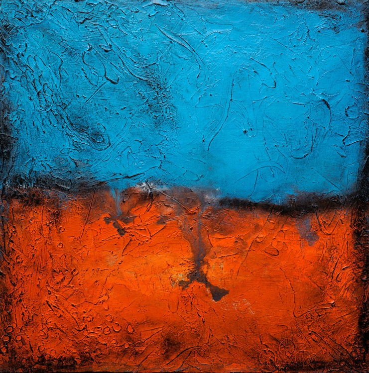 Martian Landscape  Square Abstract Painting - Image 0