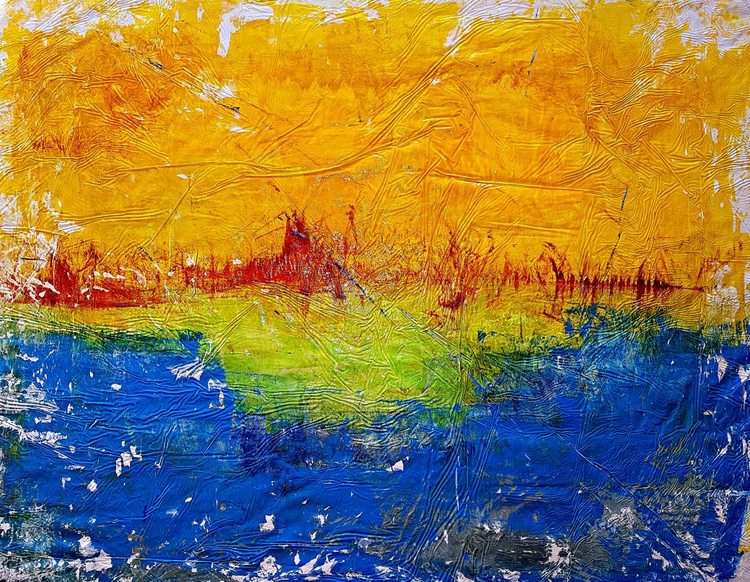 The place I read (n.219) - abstract landscape - 100 x 75 x 2,50 cm - ready to hang - acrylic painting on stretched canvas - Image 0
