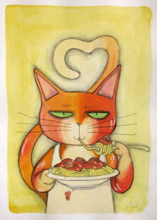 Spaghetti and a cat -