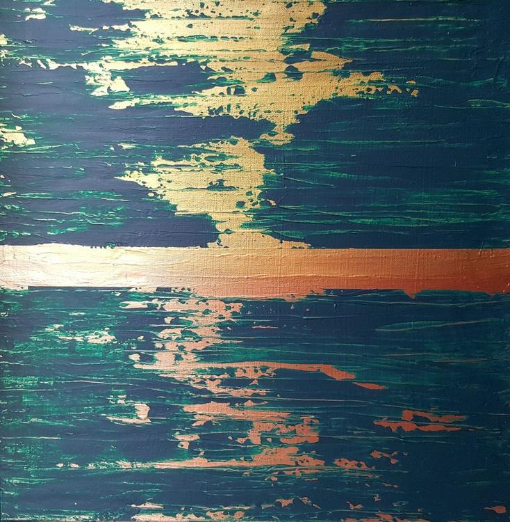 Brazilian Sunset- original  textured pallete knife painting- golden , copper, green 50x50cm - Image 0