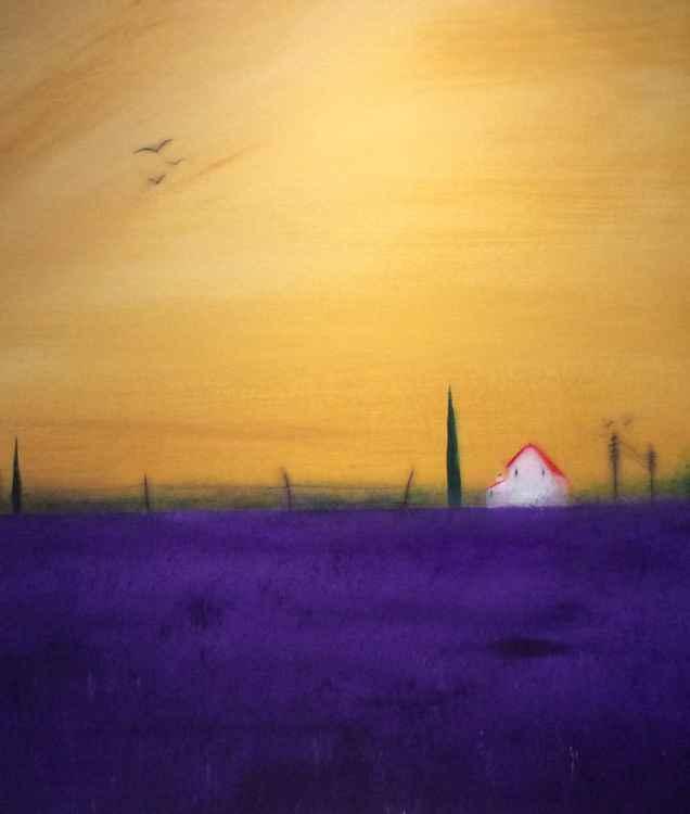 """ lavender in Provence ""Landscape 42x49cm -"