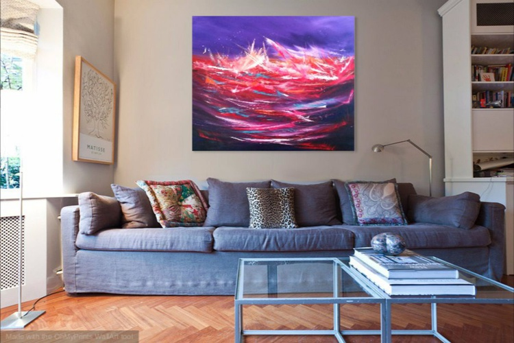 Utopia II - Abstract, large, purple, abstract, Modern Art Office Decor Home - Image 0