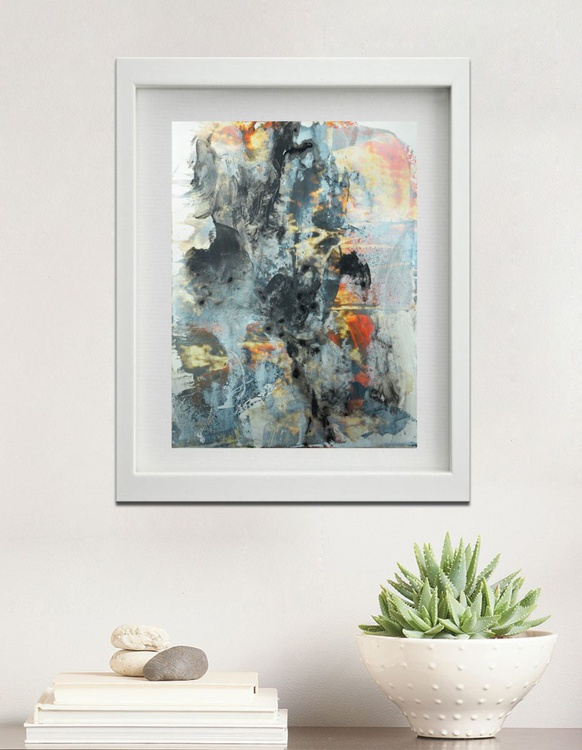 Abstract painting - 12x9 - Study on yupo paper no. 16-0307 , black, white , orange abstract painting - Image 0