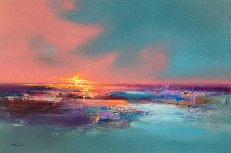 Silent Talks II - 60 x 90 cm abstract landscape oil painting in soft pink and turquoise - Image 0