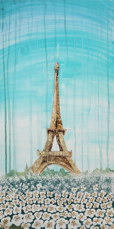 Eiffel Tower in Paris, France painting landscape flowers turquoise decor original floral art 50x100x2 cm stretched canvas acrylic spring wall art by artist Ksavera - Image 0