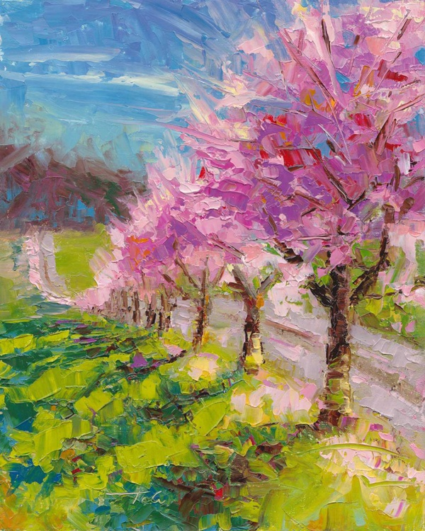 Up and Over - plein air ornamental plum blossoms - Image 0