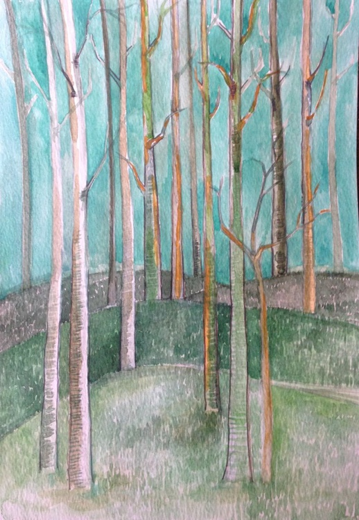 Winter Trees Watercolour Painting - Image 0
