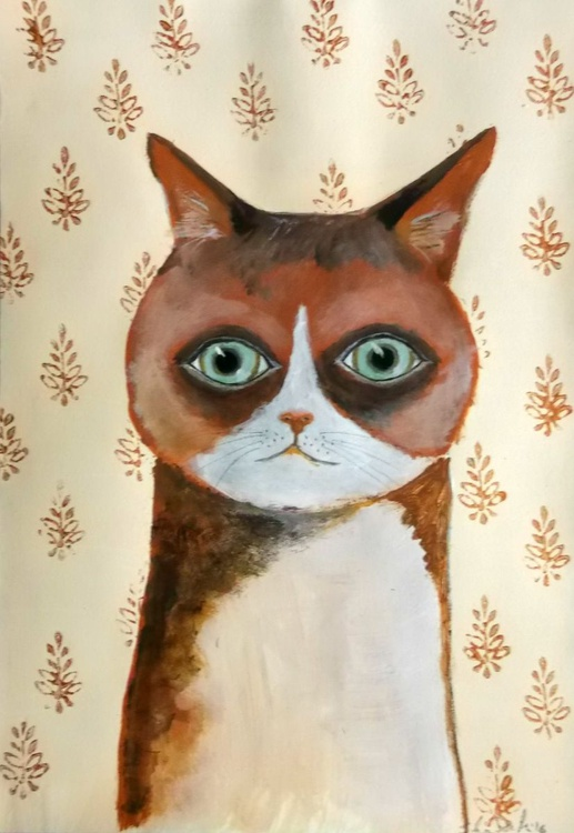 The brown cat - acrylic on paper - Image 0