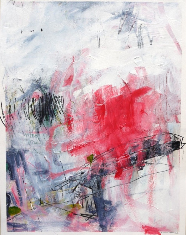 Raspberry Dream | abstract on paper | pink white black - Image 0