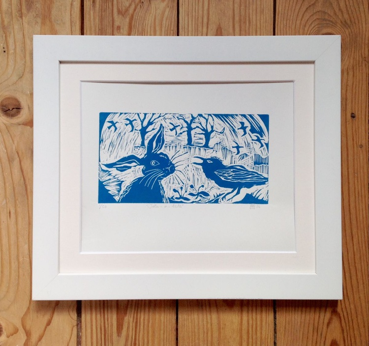 Hare and Crow (midnight blue), Limited Edition Linocut - Image 0