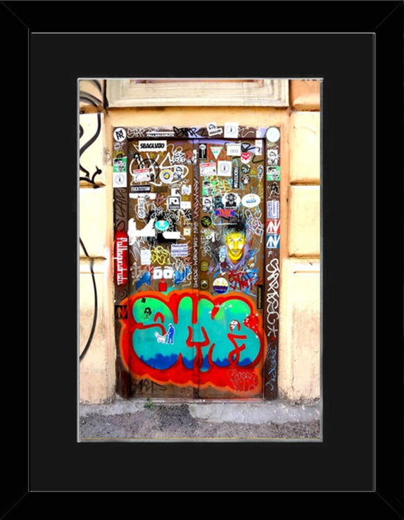 Colourful Door - Rome - Framed - Image 0