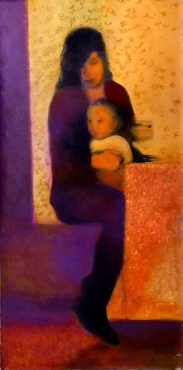 Maternity, oil on canvas, 100x50 cm - Image 0