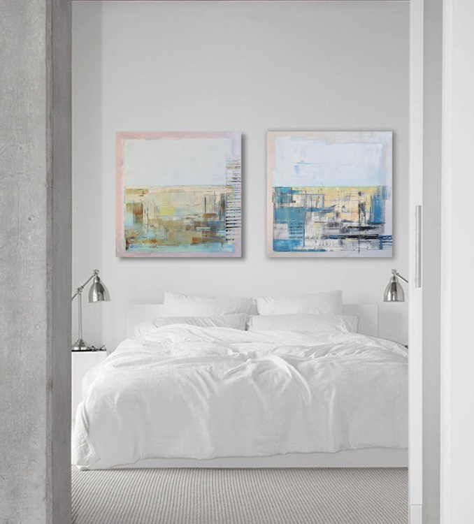 "Oil painting, canvas art, stretched, diptych ""Industrial city II"". Size 55.11/27.5 inches (2x 27.5 x 27.5 inch -140/70cm) - Image 0"