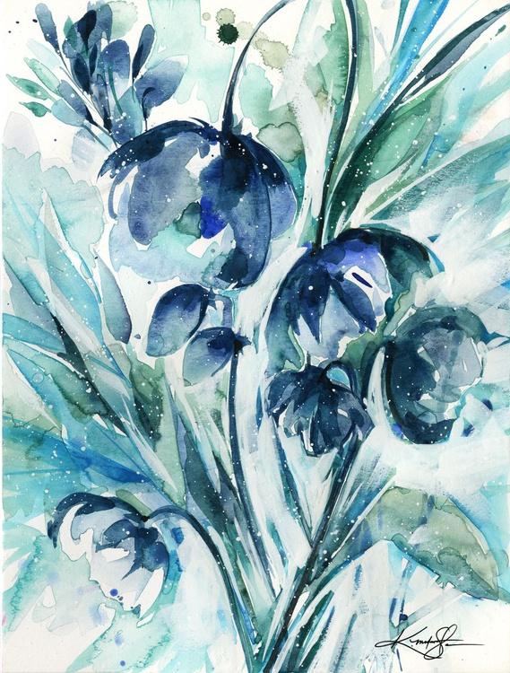 Serene Blooms 1 - Flower Watercolor Painting - Image 0