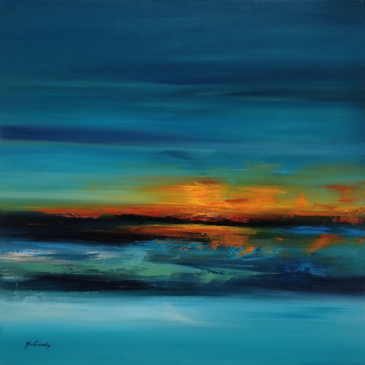 Take me to the Shore - 80 x 80 cm, turquoise, red, orange, blue abstract landscape oil painting - Image 0