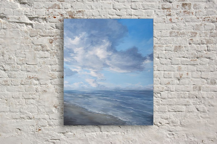 Original artwork by Natalia Marinych, Skyline, Seascape, Silver beach - Image 0