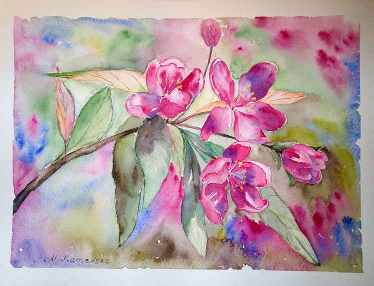 Original one of a kind watercolor artwork - Blooming apple tree branch -