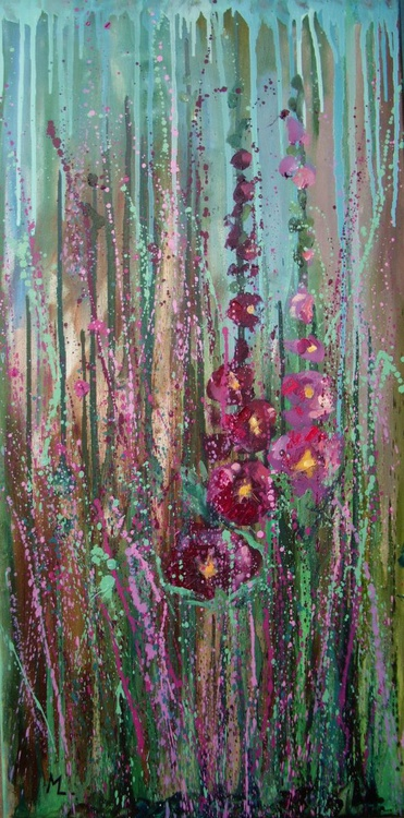 """ ABSTRACT MEADOW"" - 80x40cm mallows flower GIFT Modern Urban Art Office Art decor Home Decor Gift Idea, - Image 0"