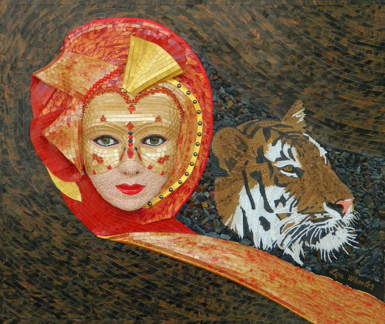 Moods - Original, unique, fantasy woman and tiger mixed media mosaic art in high-relief - Image 0