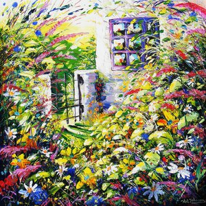 """Cottage Garden, flowers - """"Tranquil Haven"""" by Andrew Alan Johnson"""