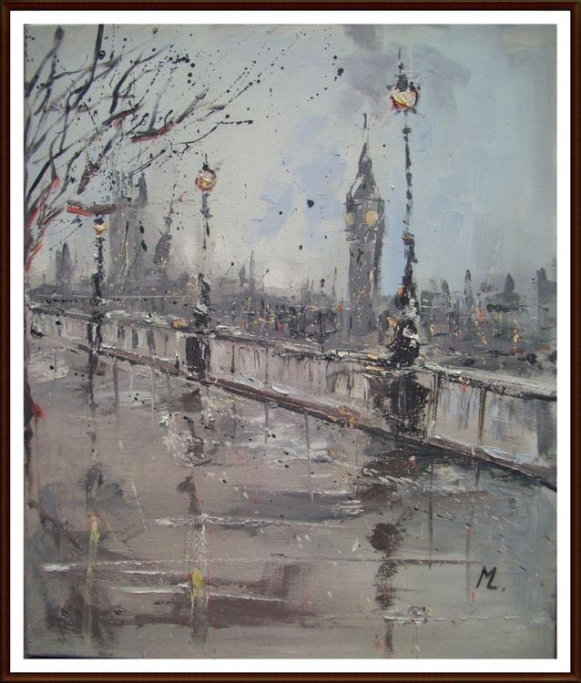 """ LONDON ... ""   60x50 CM ORIGINAL oil PAINTING - Image 0"
