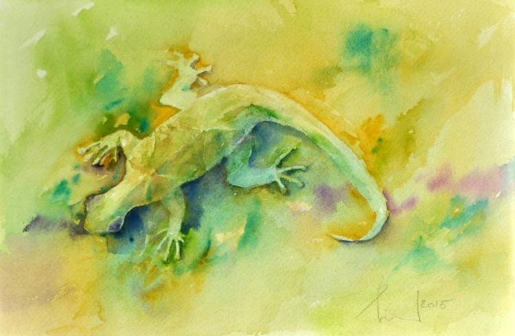 GREEN HEAT original watercolor - Image 0