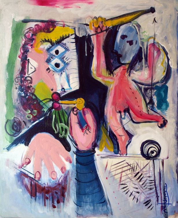 Buste d`homme à la pipe et amour (Inspired by Picasso) - Image 0