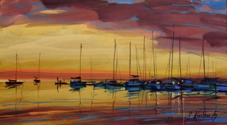 yacht at sunset. Original painting 67x37 cm - Image 0