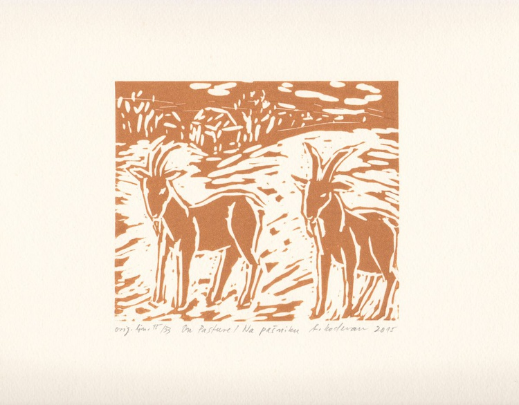 On Pasture - Na pašniku, 2015, linocut on paper, 12,3 x 14,5 cm - Image 0