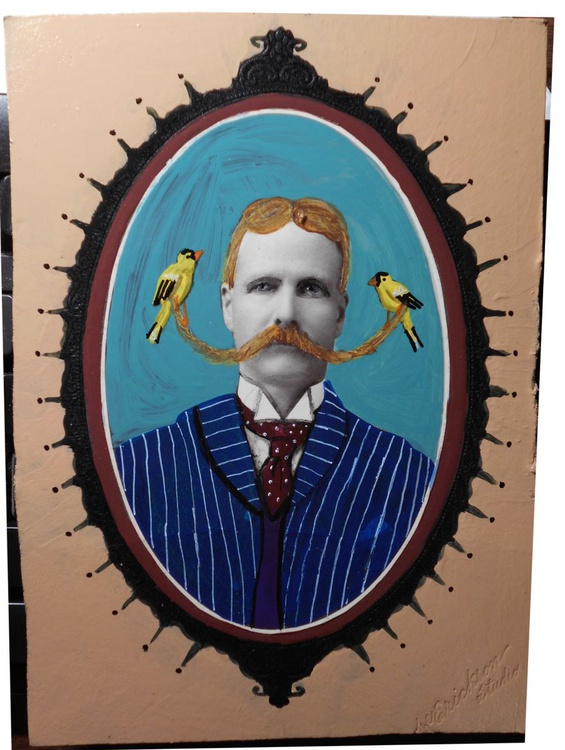Finding Balance with Yellow Finches Original Painting on Vintage Photo - Image 0
