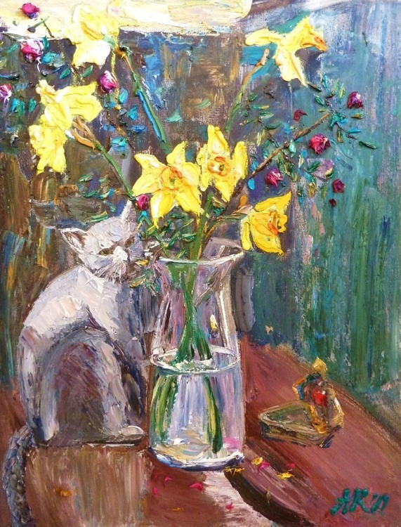 daffodils and cat - Image 0
