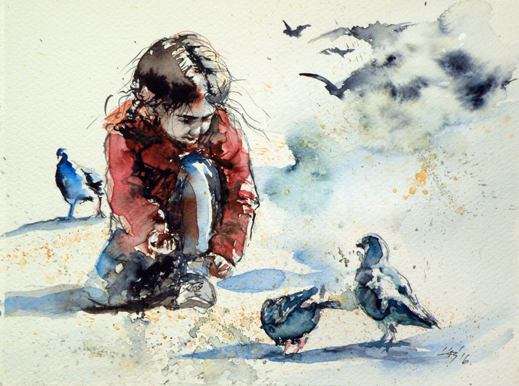 Girl with pigeons - Image 0