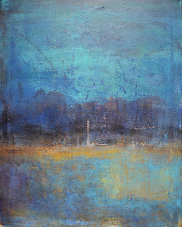 """Abstractlandscape acrylic painting """"Night away"""" - Image 0"""