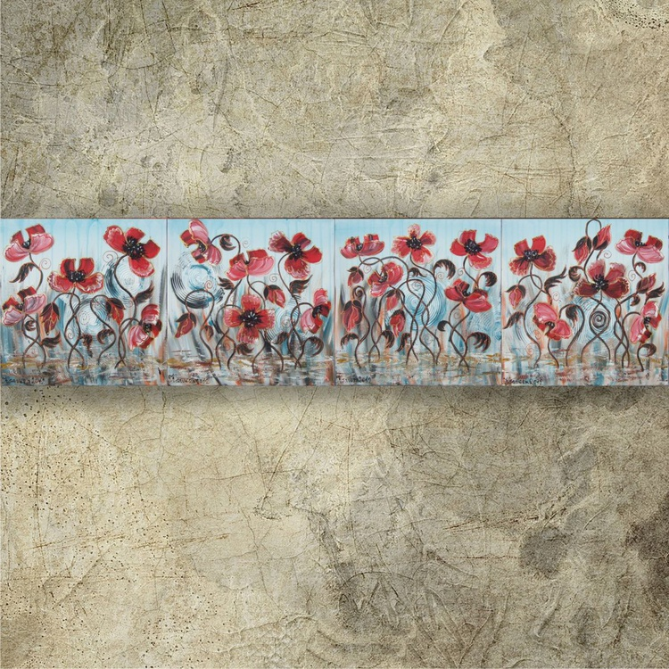 Poppies in the rain landscape 40x160 cm Long paintings set of 4 stretched canvas art teal red by artist Ksavera - Image 0