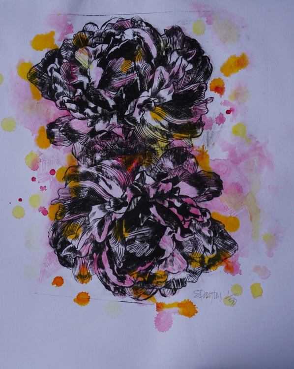 Abstract Peony Etching with Watercolour and Ink Finish - Image 0