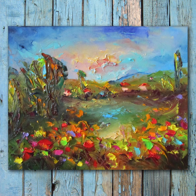 Spring landscape 2, oil painting, free shipping - Image 0