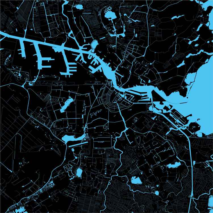 Limited water map of Amsterdam in 2014