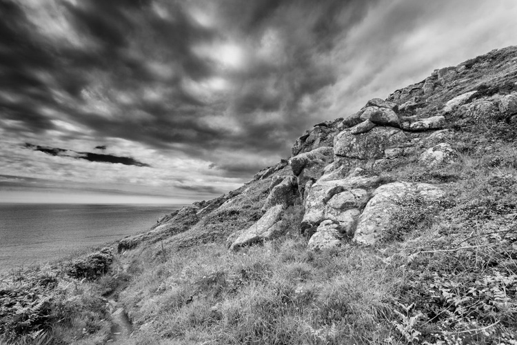 On the coast path from Lamorna Cove in cornwall England UK - Image 0