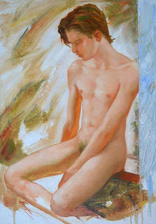 original oil painting impression art male nude  gay men on canvas #16-1-25-09 -