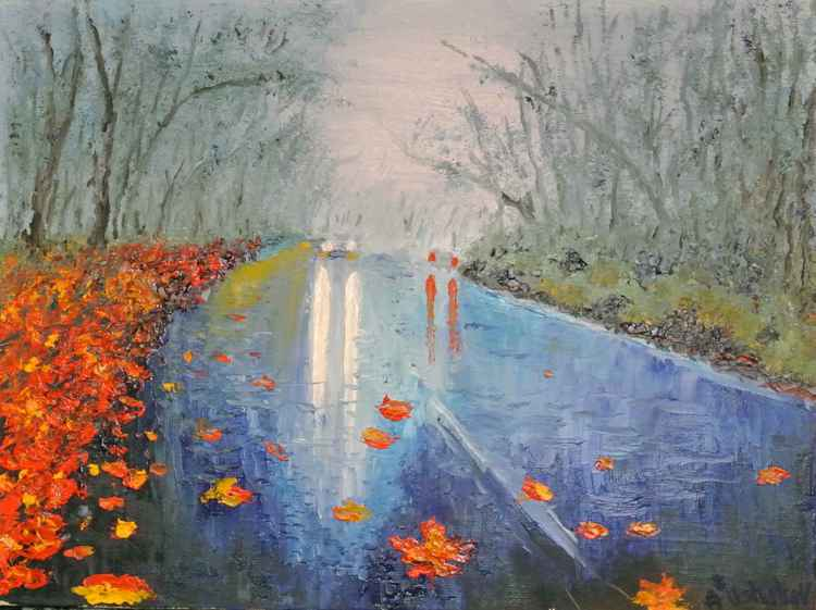 autumn road. Oil painting, Canvas. -