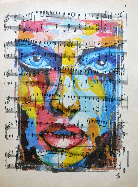 Rainbow Girl on the Vintage Music Sheet - Image 0