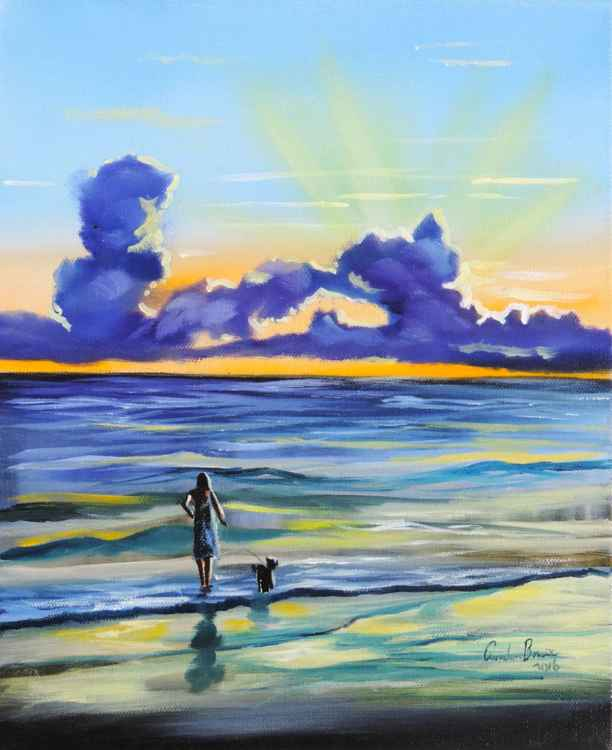 Evening beach walk / a sunset on the beach painting -