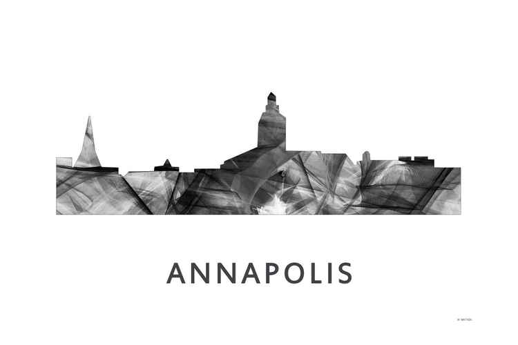 Annapolis Maryland Skyline WB BW
