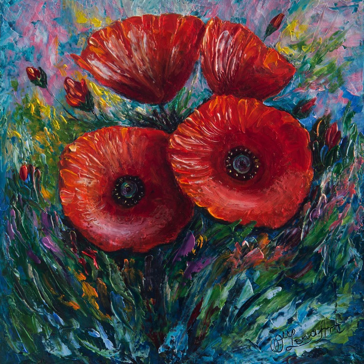 Red Poppies (Palette Knife Painting) - Image 0