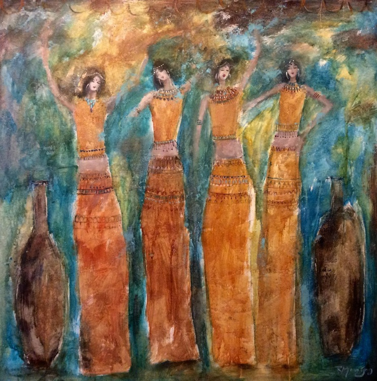 ANCIENT DANCING GIRLS   LARGE PAINTING - Image 0